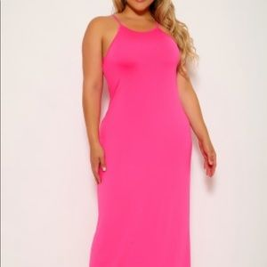 Fuschia high neck Long dress